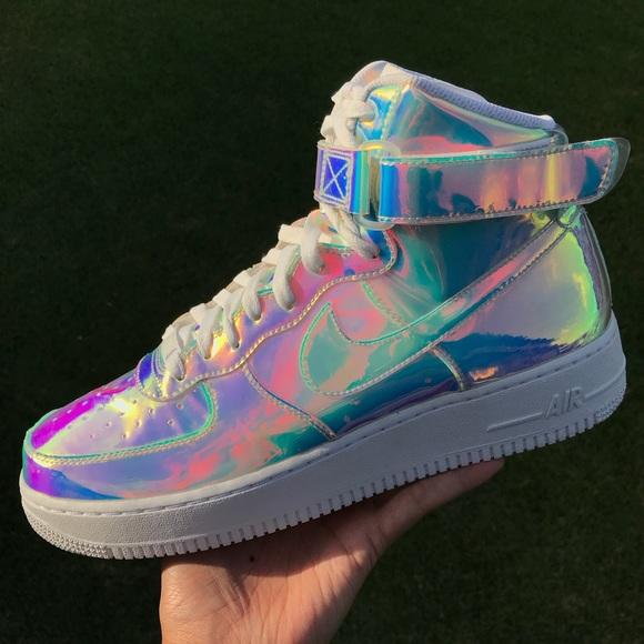 b8e5fb945b4bff Nike iD CUSTOM iridescent Air Force 1 hi top 🔥